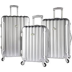 kensie 3 Piece Light Metallic Design 4-Wheel Luggage Set, Silver Color Option