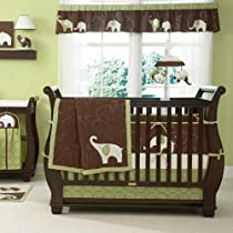 Green Elephant 5 Piece Baby Crib Bedding Set with Bumper by Carters