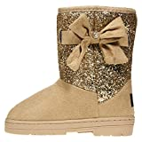 bebe Girls Glitter Winter Boots Size 4 with Side Bow Casual Dress Shoes Tan