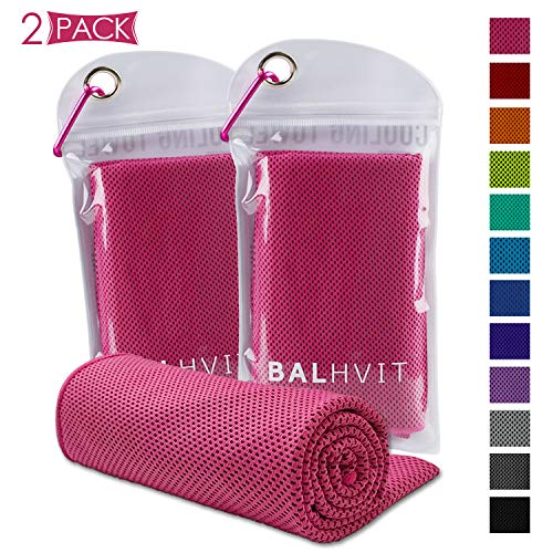 Balhvit [2 Pack Instant Relief Cooling Towel, Ice Towel, Microfiber Towel, Use as Chilly Neck Headband Bandana Scarf, Cool Cold Towels for Yoga Beach Travel Sports Running Camping ()