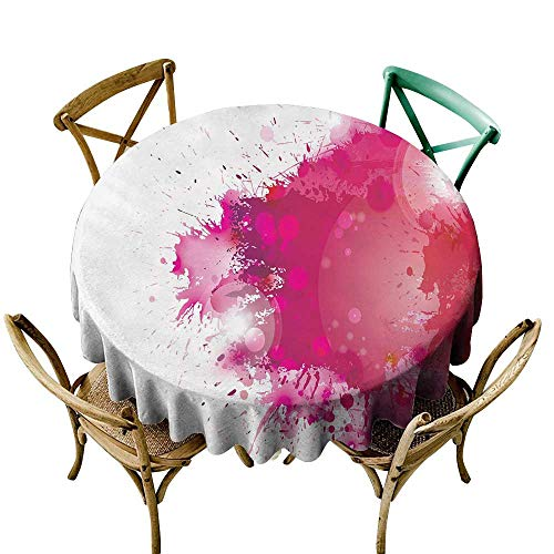 Wendell Joshua Restaurant Tablecloth 36 inch Abstract,Artistic Display with Pink Watercolor Splashes Paint Splatters Fluid Brush,Pink Hot Pink Red Suitable for Indoor Outdoor Round Tables ()