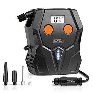 Tire Inflator, Tacklife ACP1A Air Compressor Pump, 12V Tire Pump with Unique Continuous Inflation Function,Larger Backlight Display, LED Light, 3 Nozzle Adaptors and Extra Fuse(150PSI)