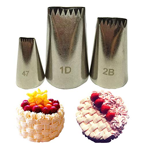 3Pcs Set Basket Weave Tips Icing Piping Nozzle Spray Nozzles Stainless Steel Writing Tube Baking & Pastry Tools Fondant Cake Decor ()