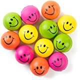 """Be Happy! Neon Colored Smile Funny Face Stress Ball - Happy Smiley Face Squishies Toys Stress Balls Bulk Pack of 12 Relaxable 2.5"""" Stress Relief Smile Squeeze Balls Fun Toys"""