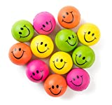 Be Happy! Neon Colored Smile Funny Face Stress Ball - Happy Smiley Face Squishies Toys Stress Balls Bulk Pack of 12 Relaxable 2.5'' Stress Relief Smile Squeeze Balls Fun Toys