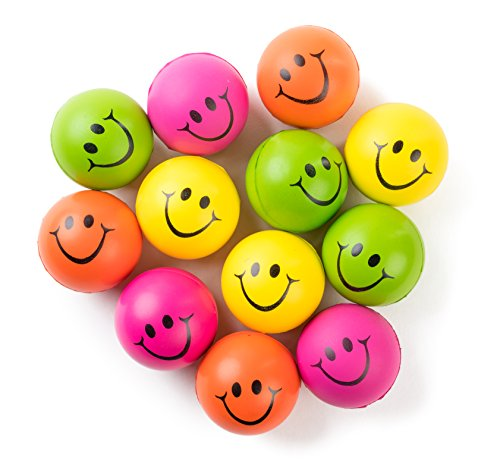 Be Happy! Neon Colored Smile Funny Face Stress Ball - Happy Smiley Face Stress Balls Bulk Pack of 12 Relaxable 2.5