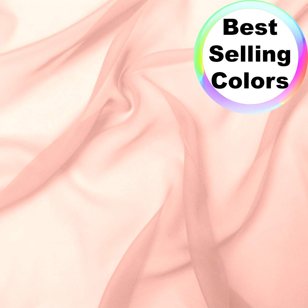 Chiffon Fabric   10 Yards Continuous   60'' Wide   Wedding Decoration, DIY Decoration, Sheer, Drapery, Solid by Barcelonetta (Blush) by Barcelonetta