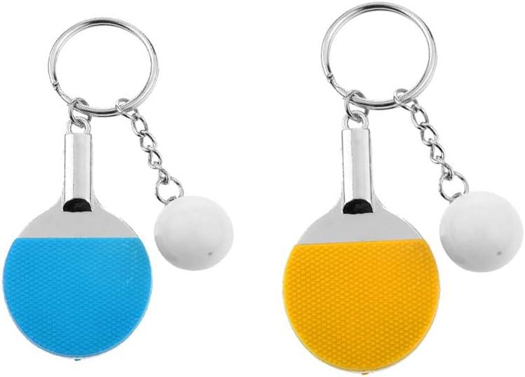 Sharplace 2xCreative Table Tennis Ping-Pong Raqueta Y Bola Colgante Llavero Amarillo Azul