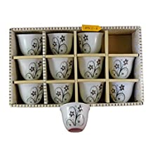Turkish Arabic Coffee Cups Gawa Set of 12 Flower Design with Crystal Stones (Black Flowers)