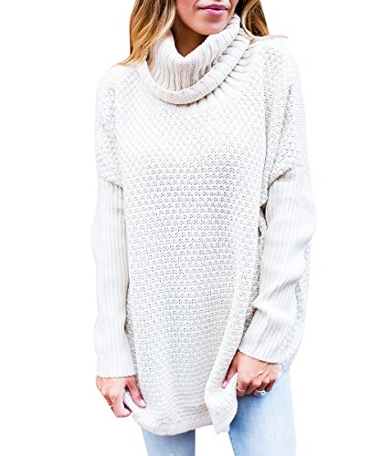 Knit Sweater Chunky Oversized Loose Sweater(M,CREAM) (Cream Cowl Neck)