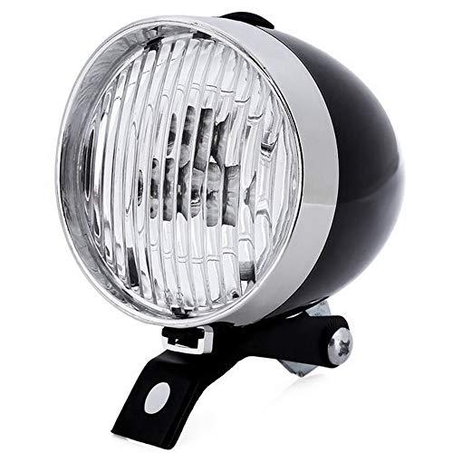 (Loriver Bicycle Front Light 3led Mtb Bike Accessories Retro Headlight Vintage Flashlight,Black)