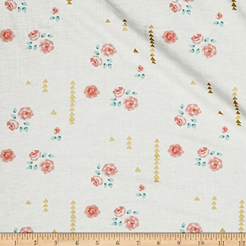 Michael Miller Brambleberry Ridge Rosemilk Metallic Sorbet Fabric by The Yard