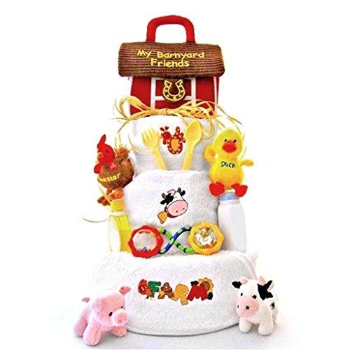 Barnyard Baby Diaper Cake (Funny Farm 3 Tier Diaper Cake,)