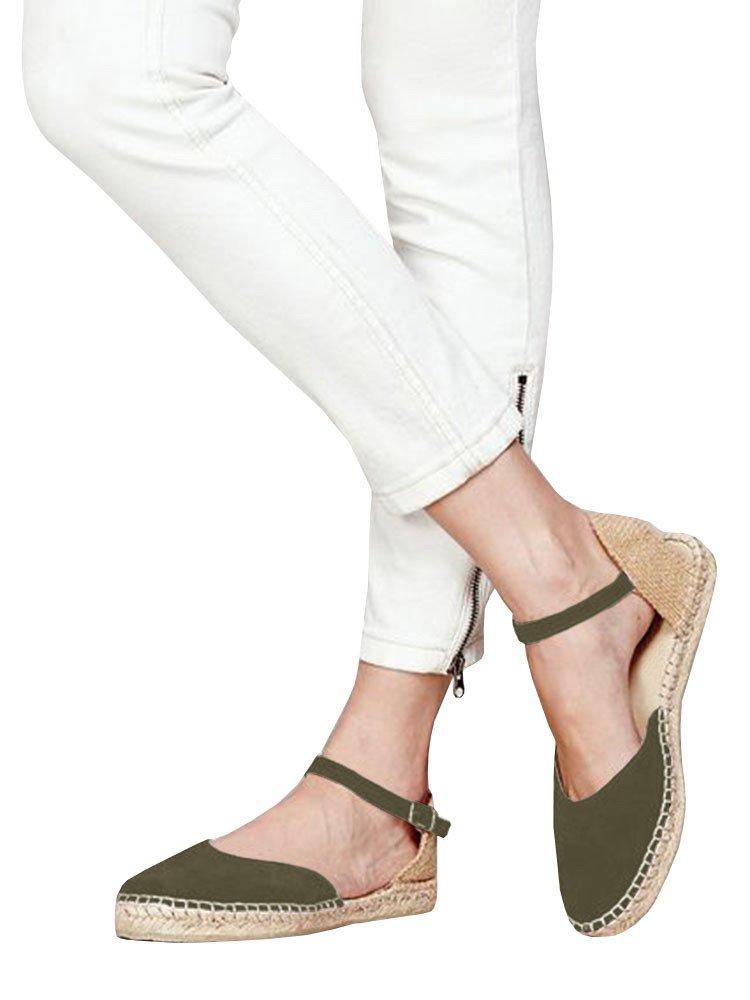 Huiyuzhi Womens Ankle Straps Buckle Espadrilles Flat Sandals Platform D'Orsay Dress Sandal B07DKTRL7N 6.5 B(M) US|1-army Green