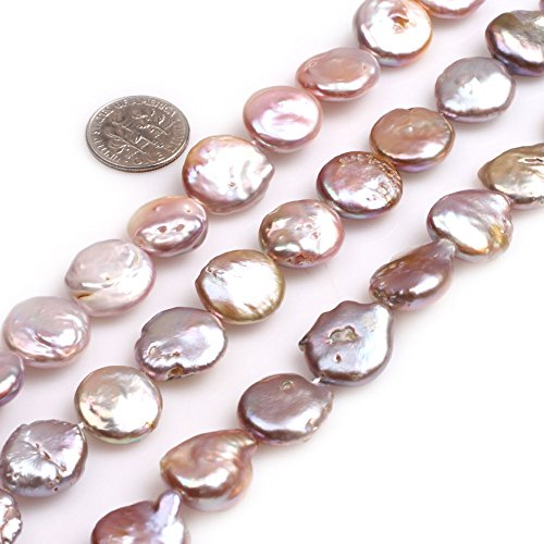 GEM-inside 15mm White Color Coin Pearls Beads for Jewelry Making Loose Beads Strand 15