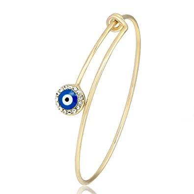 GUANDU Simple Cute Evil Eye Bangle Bracelet for Women Girls Gifts (Gold) 2d0e0c016