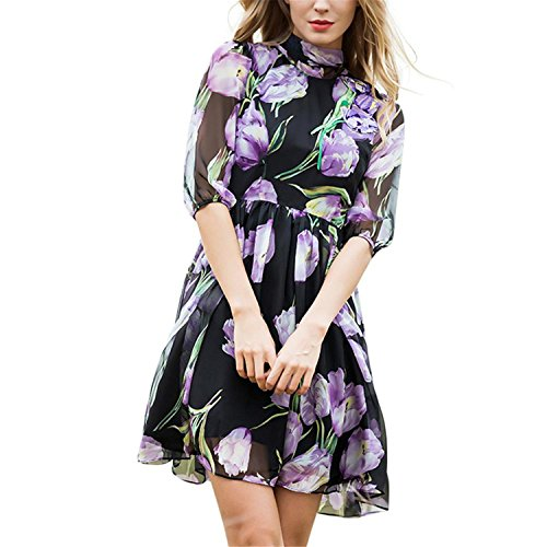 sdk5SIUADT Luxury Women Dress Fashion Daily Slim Half Sleeve Purple Tulip Flowers Print Beautiful Women's Dress Vestidos As Picture - For Less Reviews Under Luxury Shop