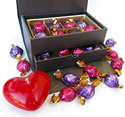 Godiva Chest with large heart shaped Candle. Inclcludes Light, Dark and Casserole Truffles, and a Large Romantic Candle