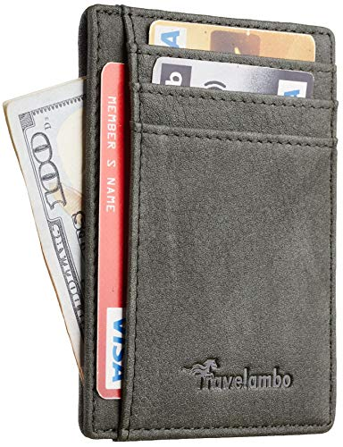 Travelambo Front Pocket Minimalist Leather Slim Wallet RFID Blocking Medium Size(Oldo Green)