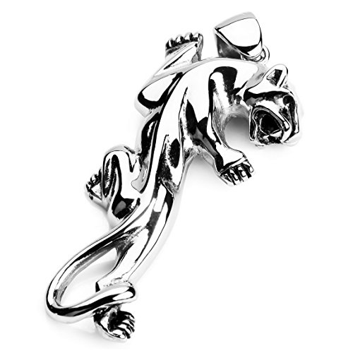 INBLUE Men's Stainless Steel Pendant Necklace Silver Tone Leopard -With 23 Inch Chain