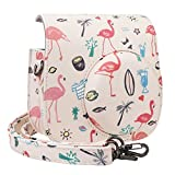 Blummy PU Leather Instax Mini 9 Camera Case for Fujifilm Instax Mini 8/Mini 8+/Mini 9 Instant Camera with Adjustable Strap and Pocket (Pink Flamingo)