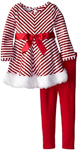 Bonnie Jean Little Girls' Mrs Claus Santa Christmas Dress & Leggings 3T (X23717) (Mrs Christmas Outfit)