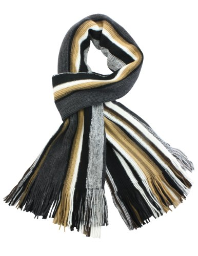 Long Striped Scarf (Dahlia Men's 100% Fine Acrylic Colorful Striped Knit Long Scarf - Tan)