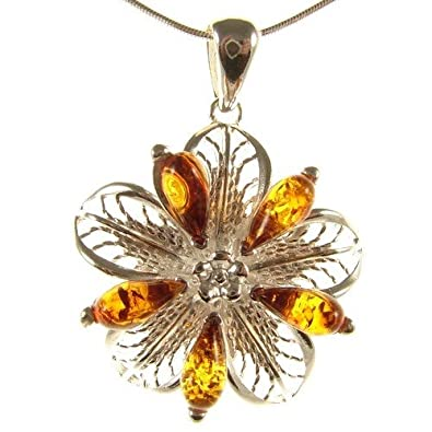 14 16 18 20 22 24 26 28 30 32 34 1mm ITALIAN SNAKE CHAIN BALTIC AMBER AND STERLING SILVER 925 FLOWER PENDANT NECKLACE