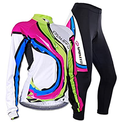 Sponeed Women's Cycle Jersey Long Sleeve Bike Riding Clothes Breathable