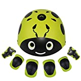 Lanova Kids Protective Gear Set, Child Cartoon Helmet Knee Elbow Pads Wrist Guards for Roller Bicycle BMX Bike Skateboard Hoverboard and Other Extreme Sports Activities (Yellow-green, S)