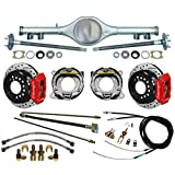 "NEW CURRIE X-BODY REAR END,FLANGED AXLES,WILWOOD 11"" DISC BRAKE KIT,DRILLED & SLOTTED RED CALIPERS,PARKING BRAKE CABLE KIT,HARDLINE KIT,COMPATIBLE WITH CHEVY II 1962-1967,NOVA,MULTI-LEAF SPRINGS"