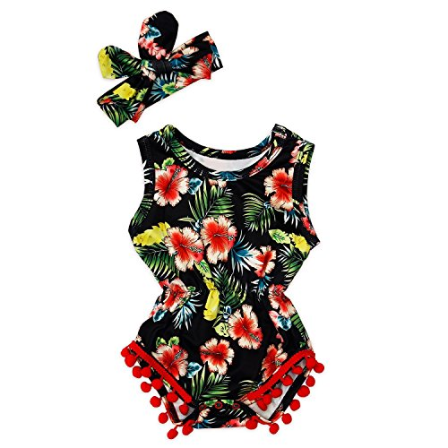 - Yaffi PatPat Baby Girls Romper Floral Lace Jumpsuit Bodysuit Outfits Onesie with Bowknot Headband for Newborn Infant (6-9 Months, Black)