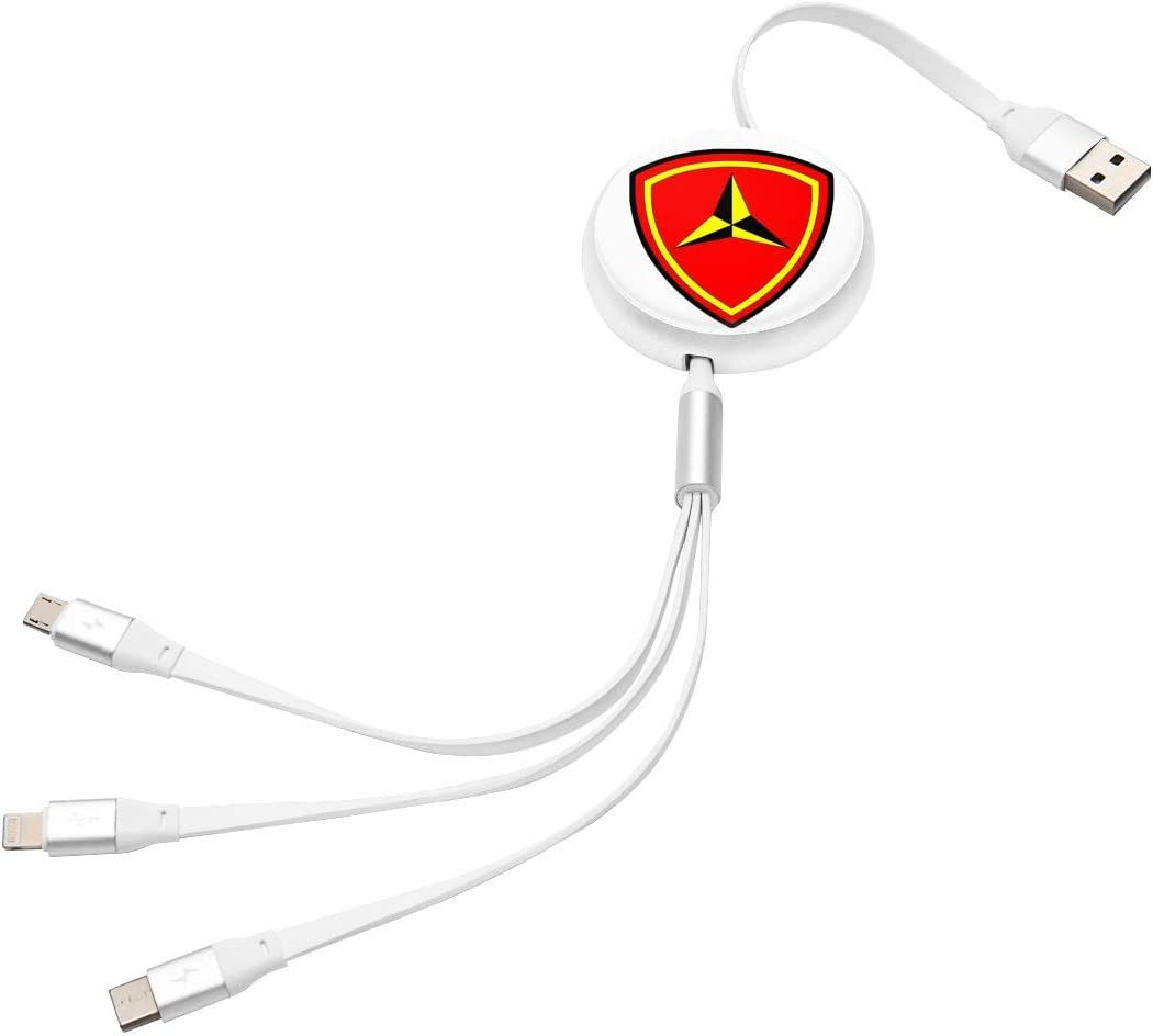 3rd Marine Division 3rd Mardiv Retractable USB Charging Cable 3 in 1 Single Pull Retractable Fast Charger Cord Connector USB Port Compatible for All Phones Compatible Tablets