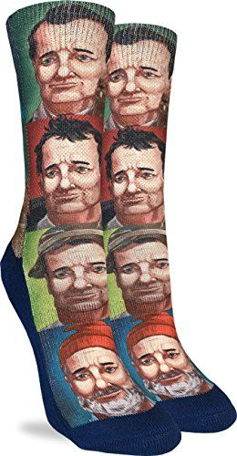 Good Luck Sock Women's Bill Murray Crew Socks - Blue, Adult Shoe Size 5-9
