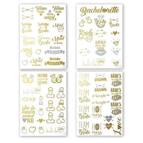 Bachelorette Party Tattoos - Gold & Silver Metallic Flash Temporary Tattoos, Mixed Set of 66 Bachelorette/Hen Party Favors by AllForBachelorette (Image #4)