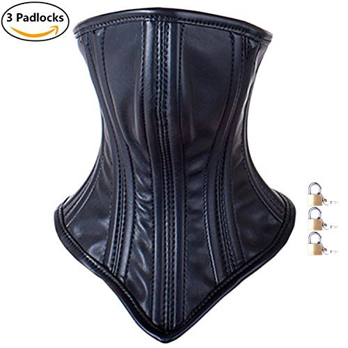 Price comparison product image Integrated Strap-on Lockable Face Mask & Neck Bound Leather Head Harness Mask (Padlock 3 Pieces) (Black)