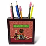3dRose Beverly Turner Christmas Design - Christmas Room, Fireplace, Tree, Toys, Have Yourself a Merry Christmas - 5 inch tile pen holder (ph_267908_1)