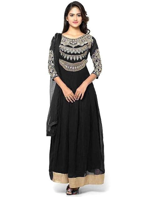 fc76e374d Mordenfab Women Faux Georgette Embroidered Salwar Suit With Dupatta (Semi- Stitched) (Black