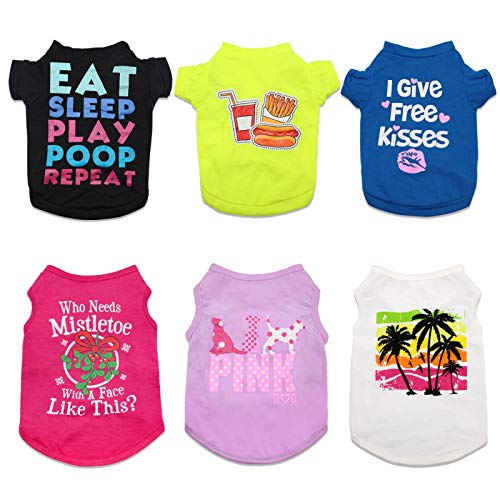 HYLYUN Printed Puppy Shirt 6 Packs - Soft Breathable Pet T-Shirt Puppy Dog Clothes Soft Sweatshirt for Small Dogs and Cats