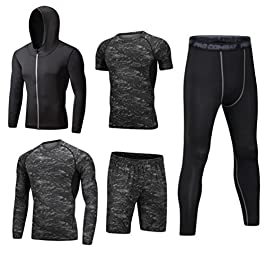 Dooxi Mens 5pcs Sports Gym Fitness Clothing Set Hoodies Jackets+Long Sleeve+Short Sleeve Base Layers T Shirts+Loose Fitting Shorts+Compression Pants for Workout Training Running Tracksuits