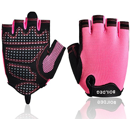 Women's Workout Gloves,Gym Gloves with Non-Slip Silica Gel Grip,Fitness Gloves with Callus and Blister Protection for Weightlifting Powerlifting Cross Fit Weight Training (Pink, S)