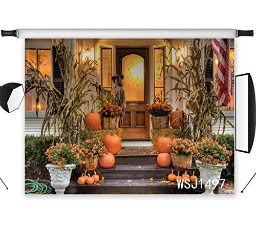 LB 7x5ft Halloween Photography Backdrop Pumpkins Thanksgiving Crops Straw Photo Background Studio Prop Customized WSJ1497 -