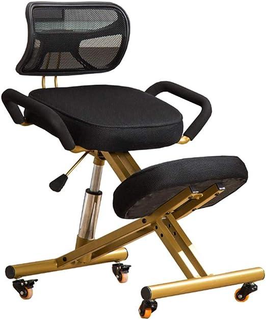 LU- Silla ergonómica de rodillas, con asiento ortopédico for el dolor de espalda Taburete ajustable con