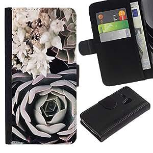 KLONGSHOP / Tirón de la caja Cartera de cuero con ranuras para tarjetas - Art Black White Rose Composition - Samsung Galaxy S3 MINI NOT REGULAR! I8190 I8190N