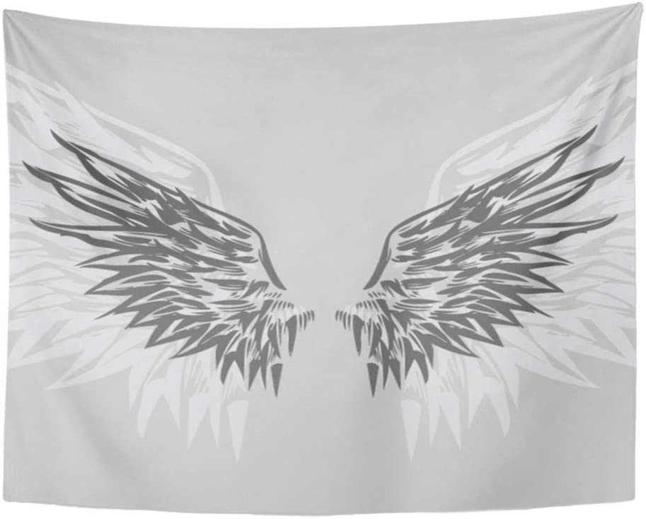 Emvency Tapestry Wall Hanging Falcon Wings Hand Drawn Eagle Angelic Angels Animal Bird Clip Crest Polyester Fabric Home Decor for Living Room Bedroom Dorm 60x80 Inches