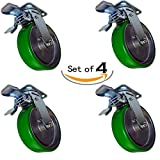 Caster Barn - 8x2 Green Poly on Aluminum Swivel Total Locking Caster - 5,000 lbs Per Set