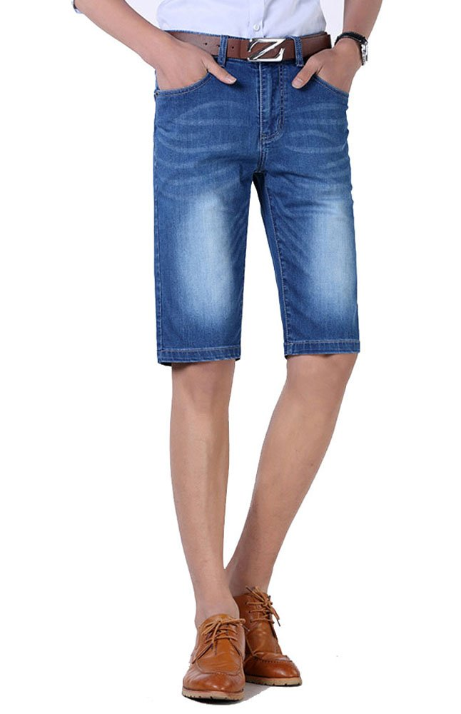 Allonly Men's Fashion Casual Slim Fit Stretch Denim Jean Short Plus Size Big and Tall ALJMS113