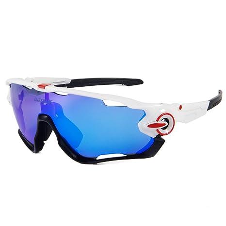 Occhiali da sole sportivi ciclismo occhiali con 3lenti intercambiabili, Blue