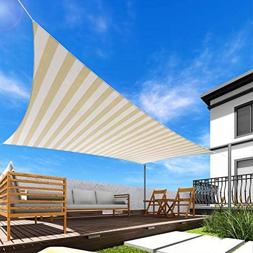 Windscreen4less Sun Shade Sail Wide Beige/White Stripes 23' x 23' Square Patio Permeable Fabric UV Block Perfect