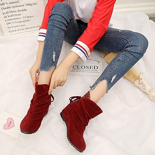 Manadlian Bout Rouge Chaussures Bottines Haut Femmes Martin Femme Chelsea Boots Épais Avec Bottes Hiver Bow Classiques 4qzwEFA